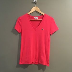 Lacoste Classic Pink V Neck T-Shirt Size 36 / S
